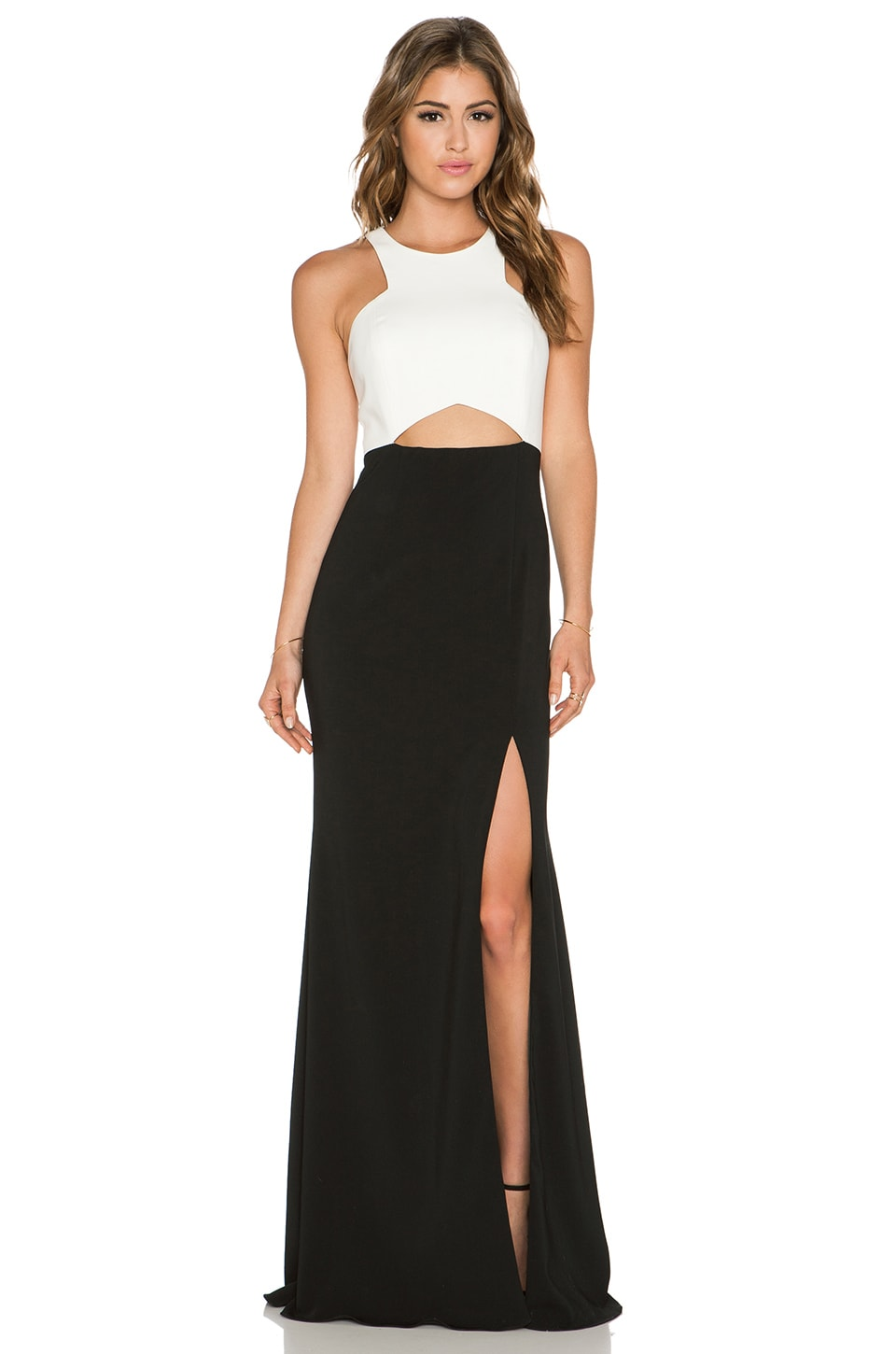 Jay Godfrey Ritz Maxi Dress in Black & Light Ivory