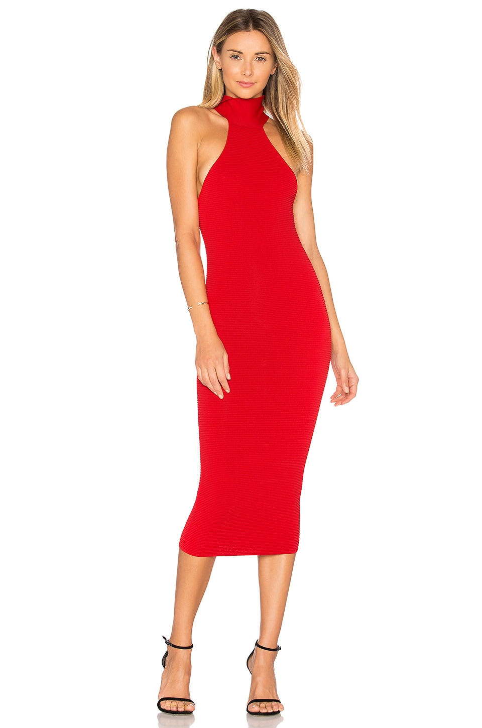 Jay Godfrey Fox Dress in Coral Red