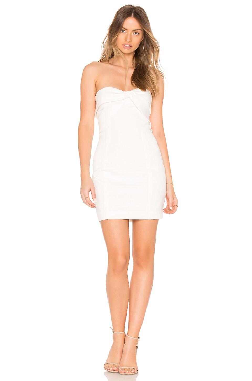 Jay Godfrey Carice Mini Dress in Light Ivory & Diamond White