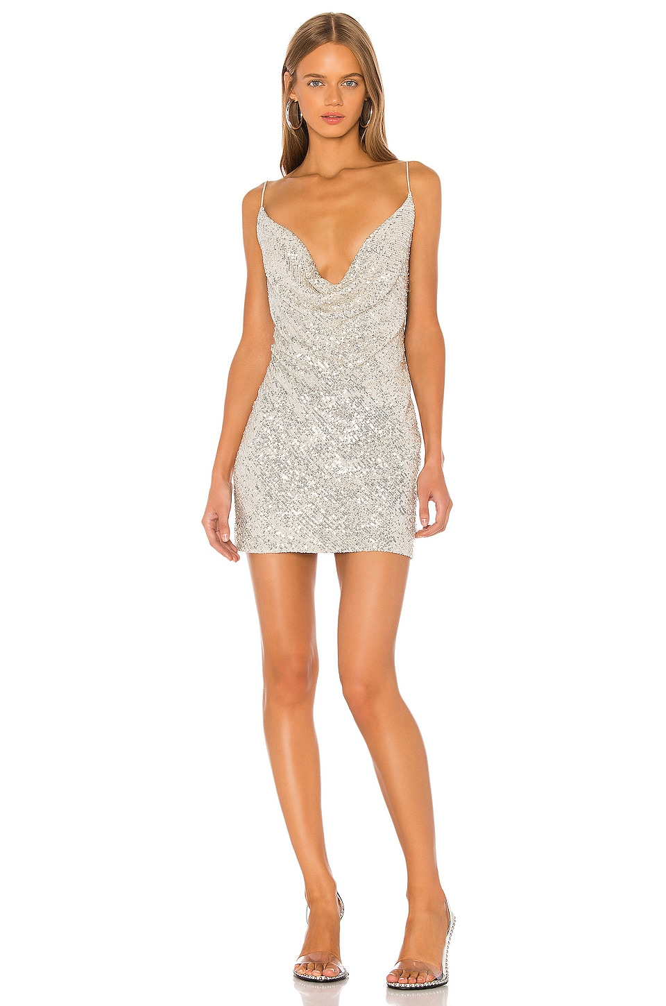 Jay Godfrey Baldwin Cowl Neck Mini Dress in Silver