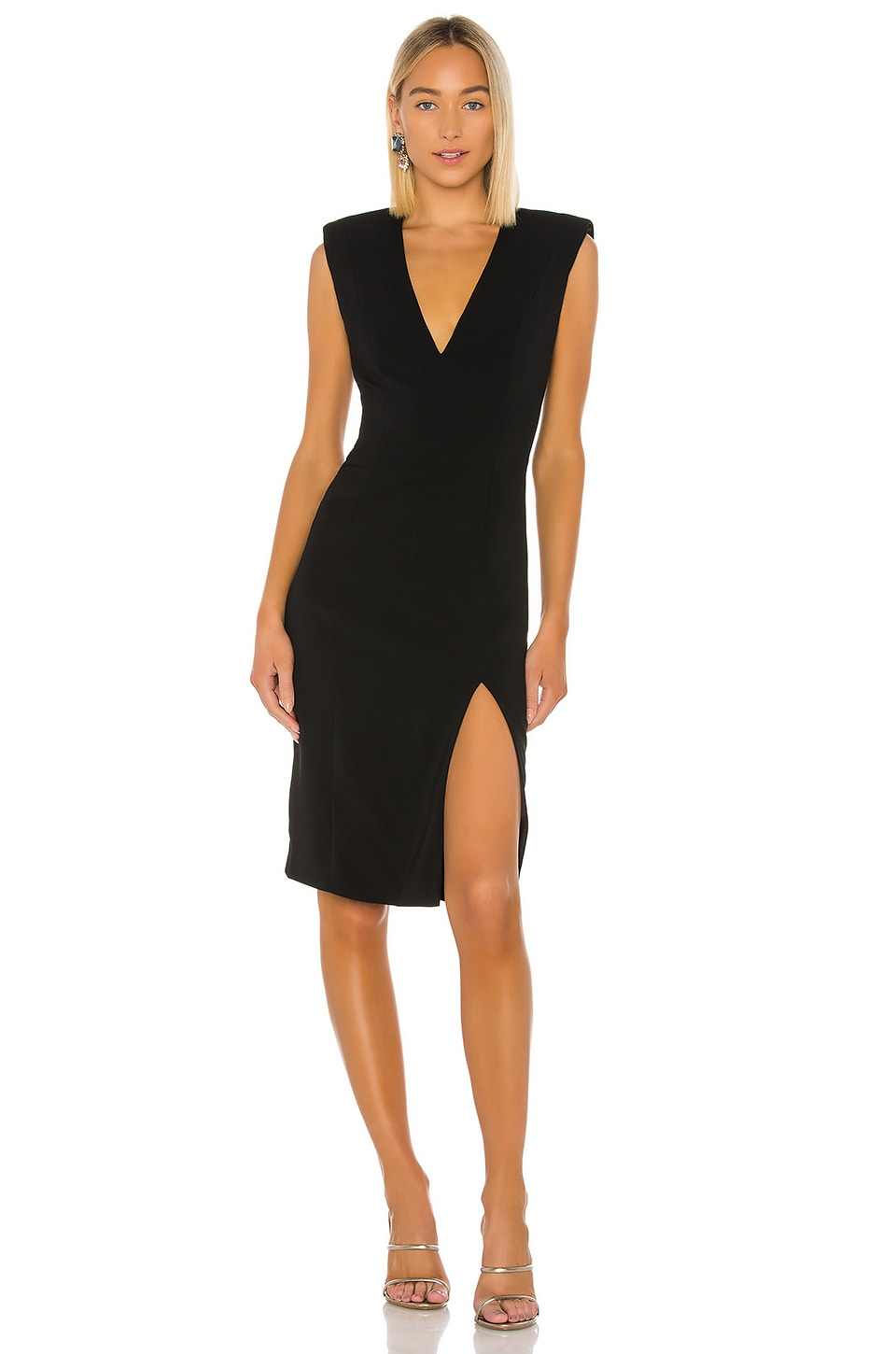 Jay Godfrey Colby Deep V Neck Dress in Black