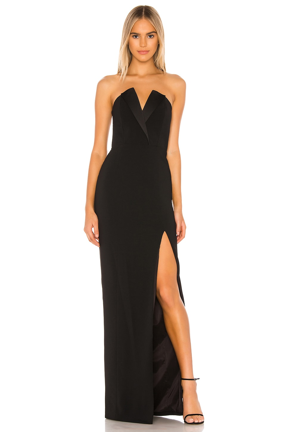 Jay Godfrey Sylvia Strapless Tux Gown in Black
