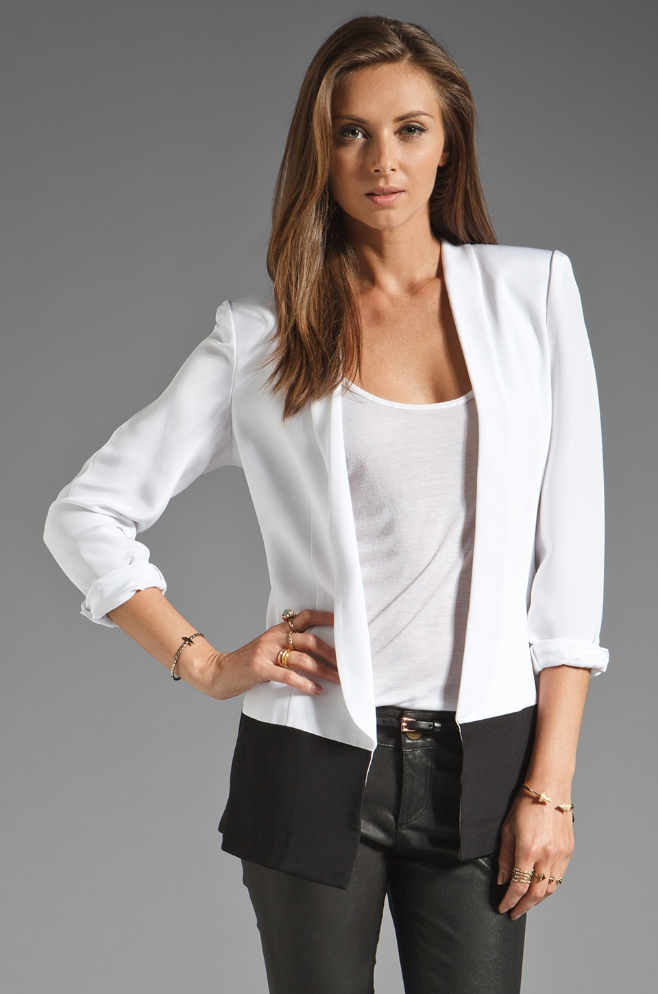 Jay Godfrey Nickel Colorblock Blazer in White/Black