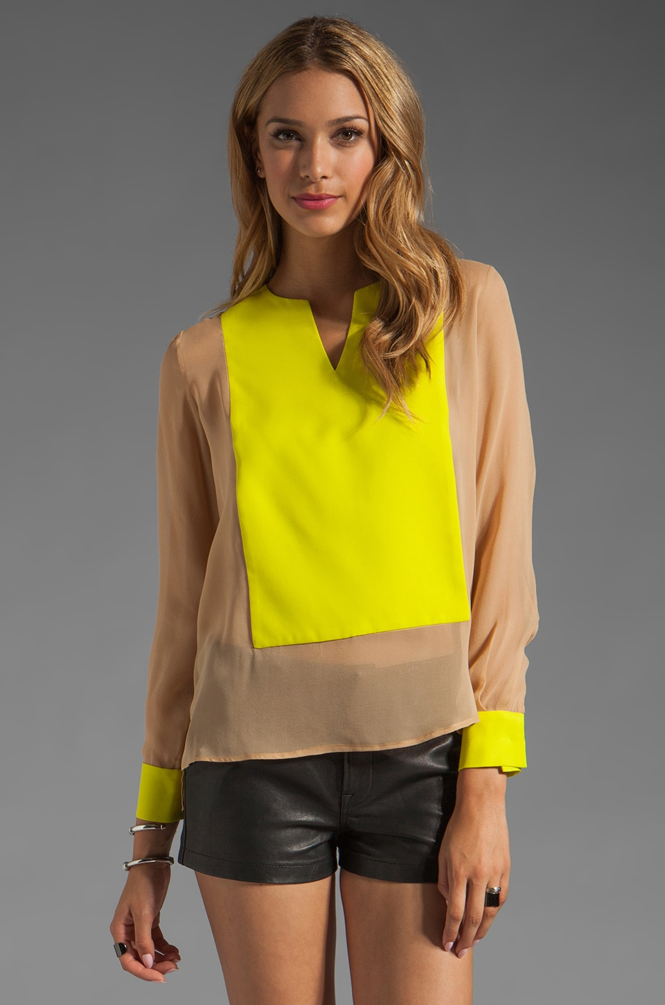 Jay Godfrey Fillmore Colorblock Blouse in Sand/Chartreuse