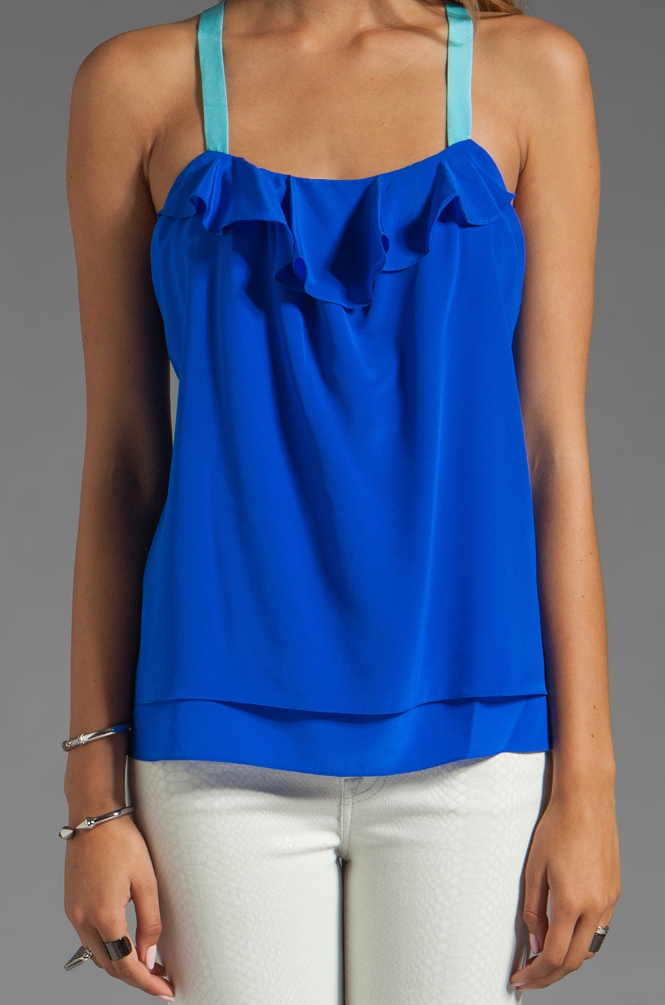 Jay Godfrey Ginger Low Back Tank in Sapphire Blue/Sky Blue