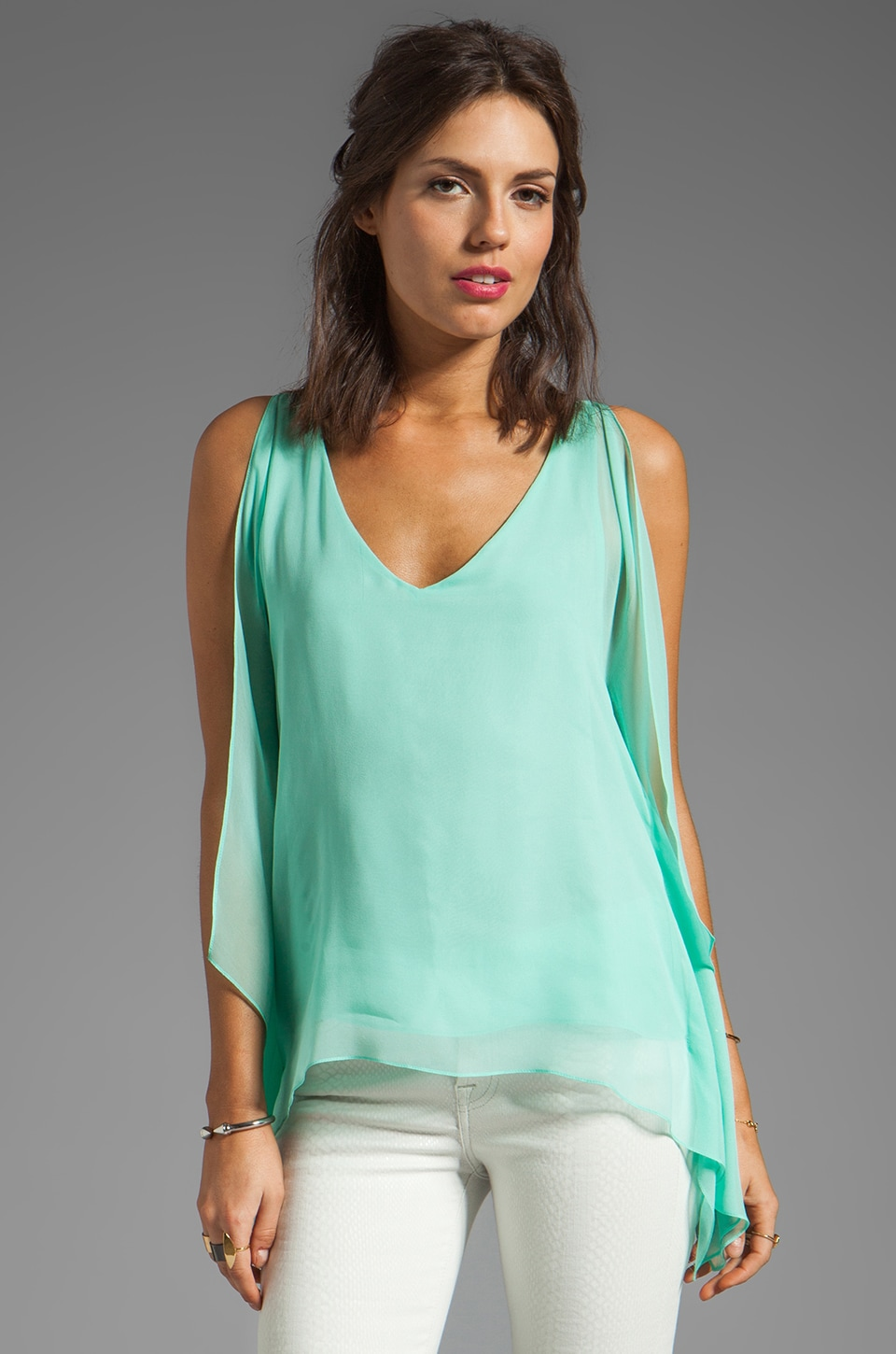 Jay Godfrey Shelbourne Kimono Blouse in Mint