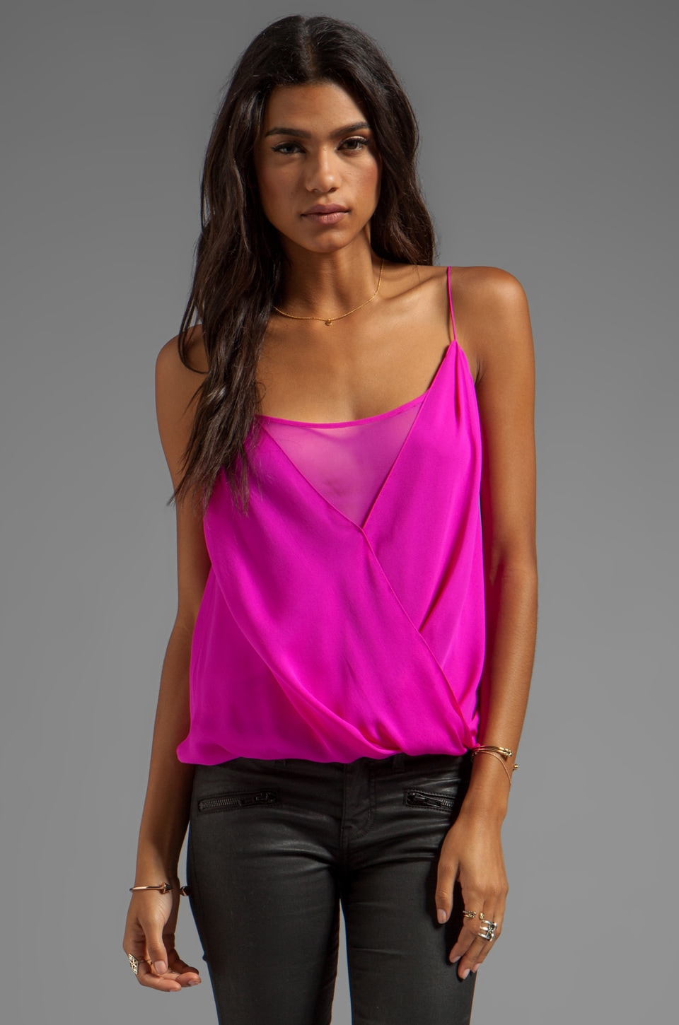 Jay Godfrey Shore Layered Tank in Fuchsia