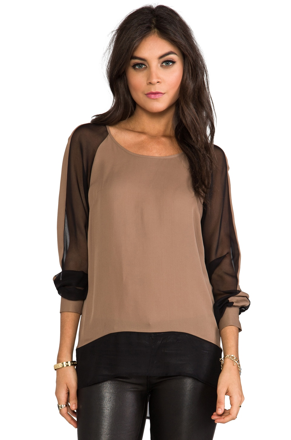 Jay Godfrey Branksome Top in Taupe/Black