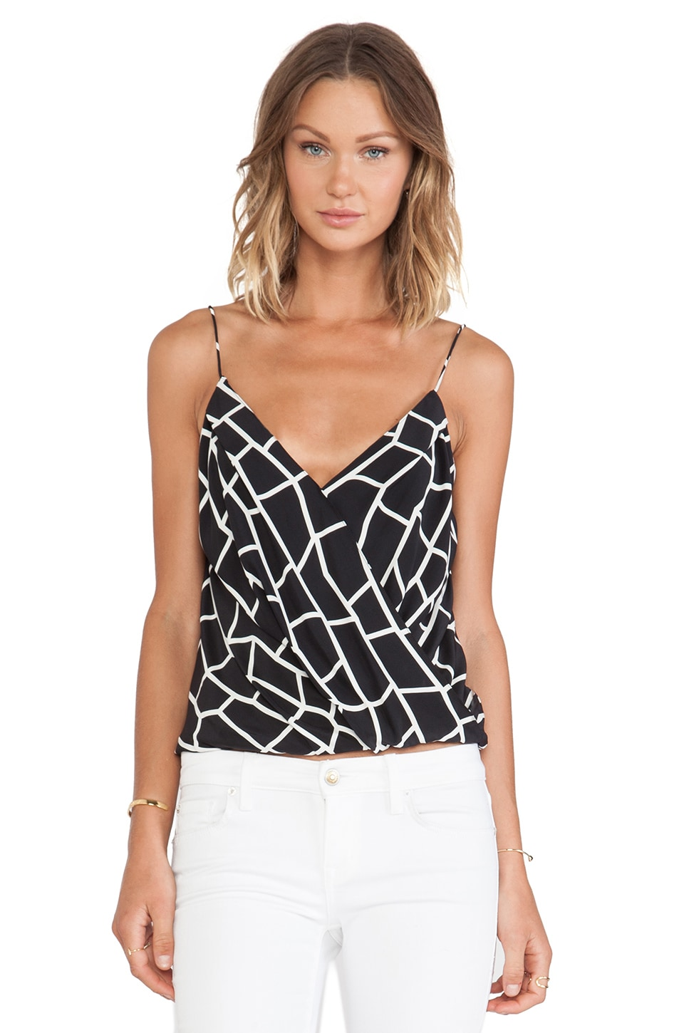 Jay Godfrey Perot Top in Black Multi