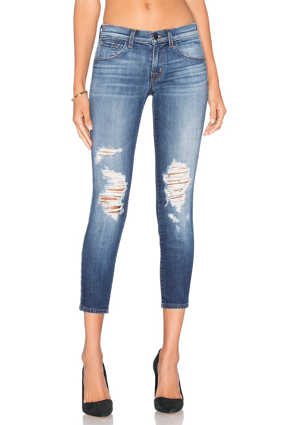 J Brand Distressed Skinny in Decoy Destructed
