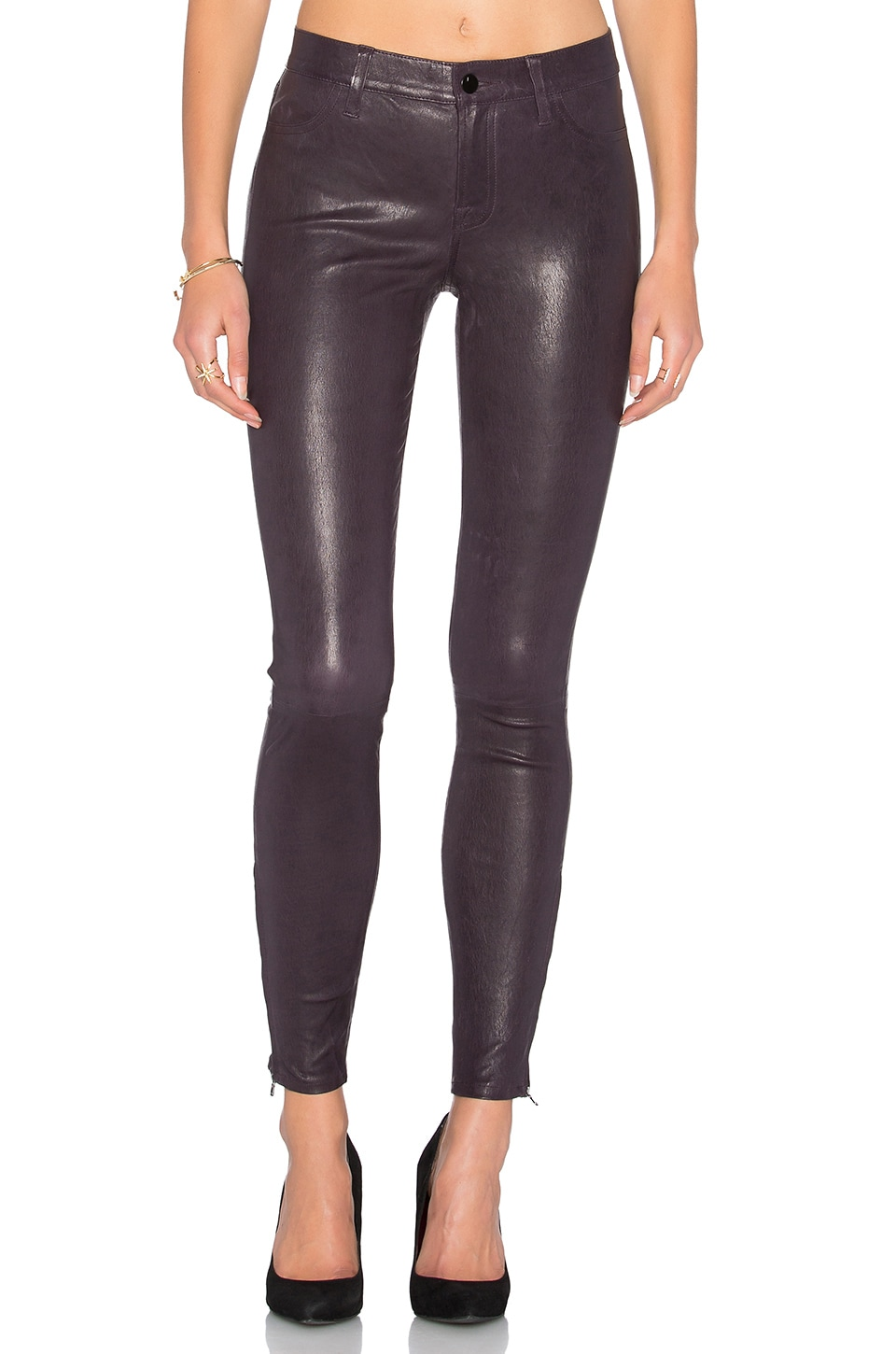 Mid Rise Leather Skinny by J Brand