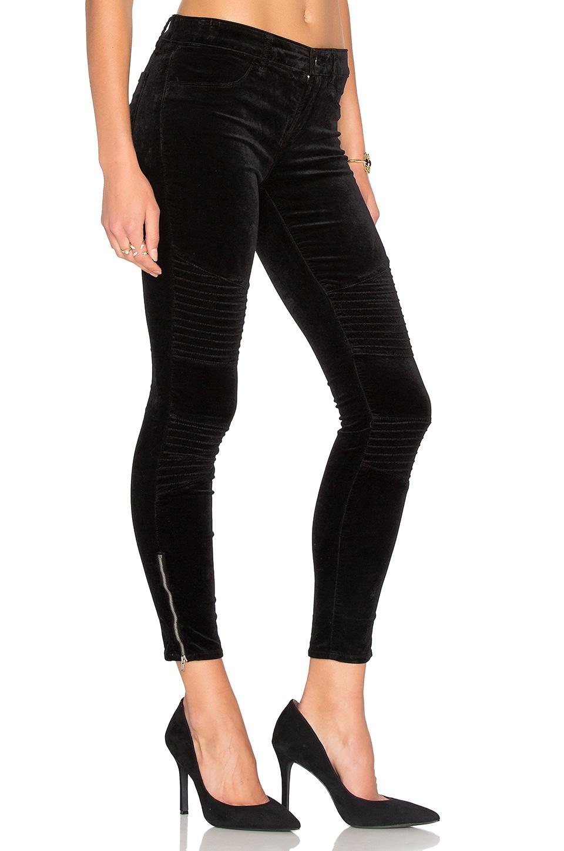 J Brand Velvet Moto Zip Skinny in Black