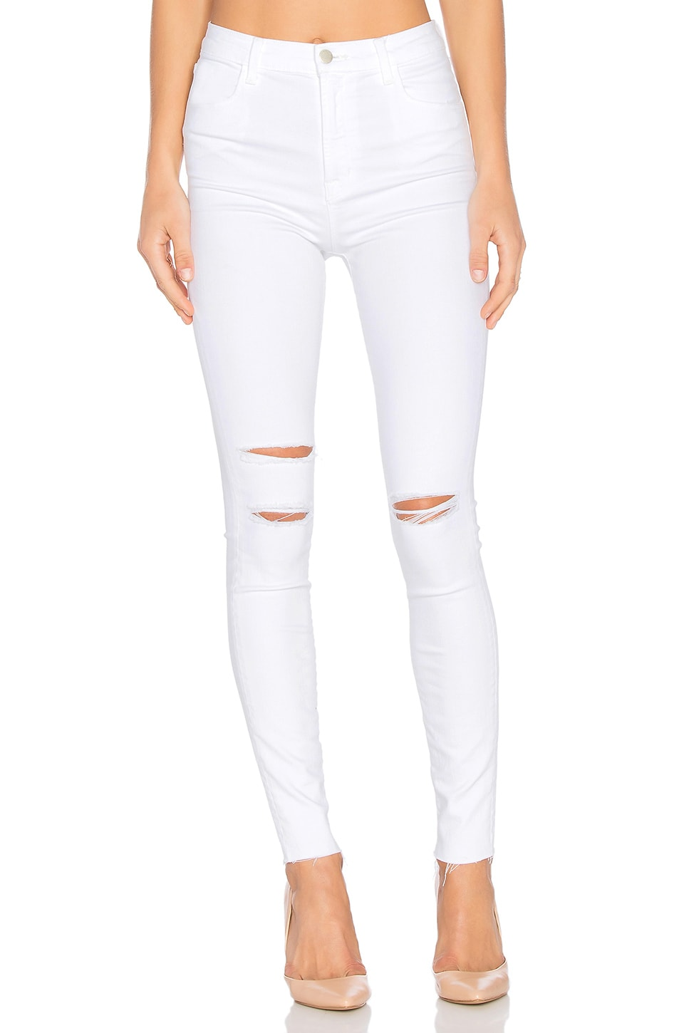 J Brand Maria Super High Rise Skinny in White Mercy