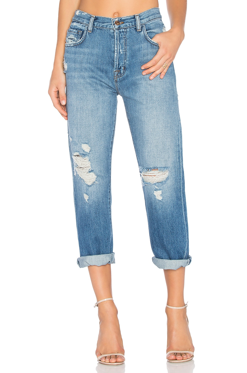 J Brand Ivy High Rise Crop Straight in Bleach Wrecked