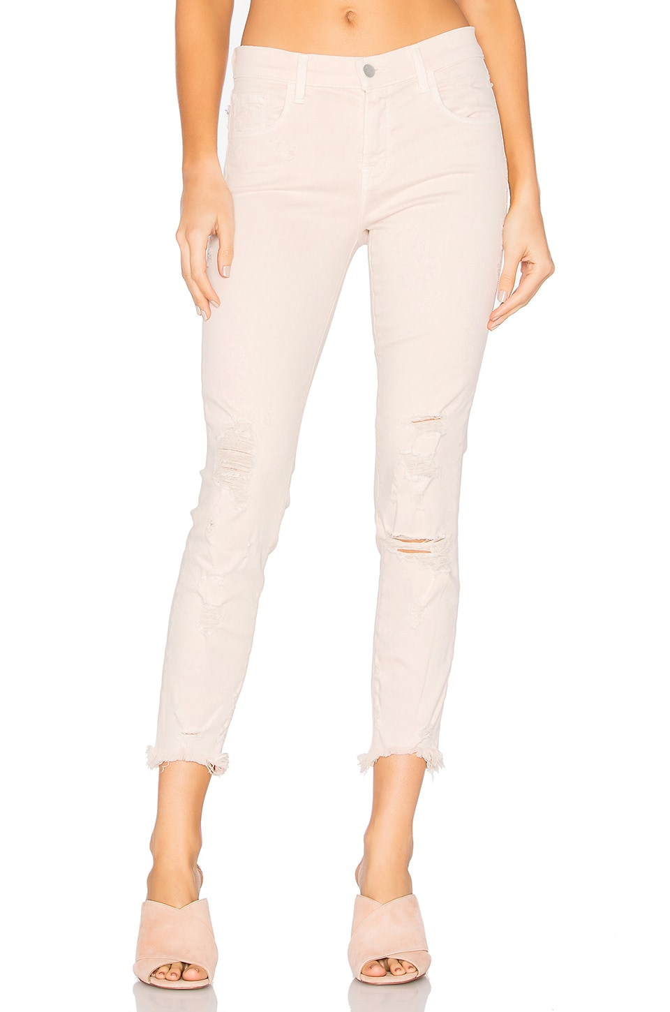 J Brand 835 High Low Hem Crop in Debutante