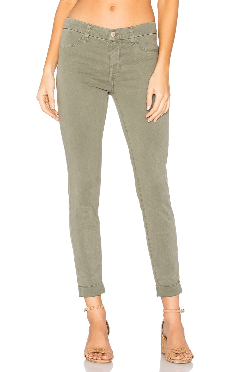 J Brand Anja Clean Cuff Crop in Caster Grey