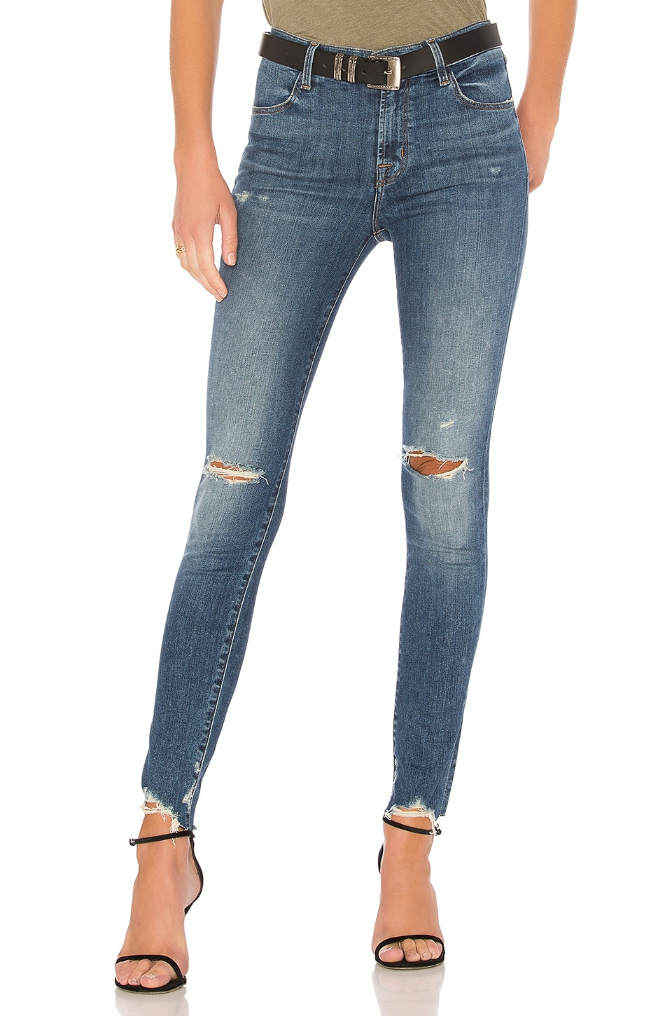 J Brand Maria High Rise Skinny in Revoke Destruct
