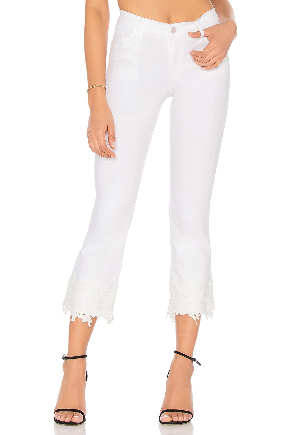 3880bbbc5d210 J Brand Selena Mid Rise Crop Boot in White Lace