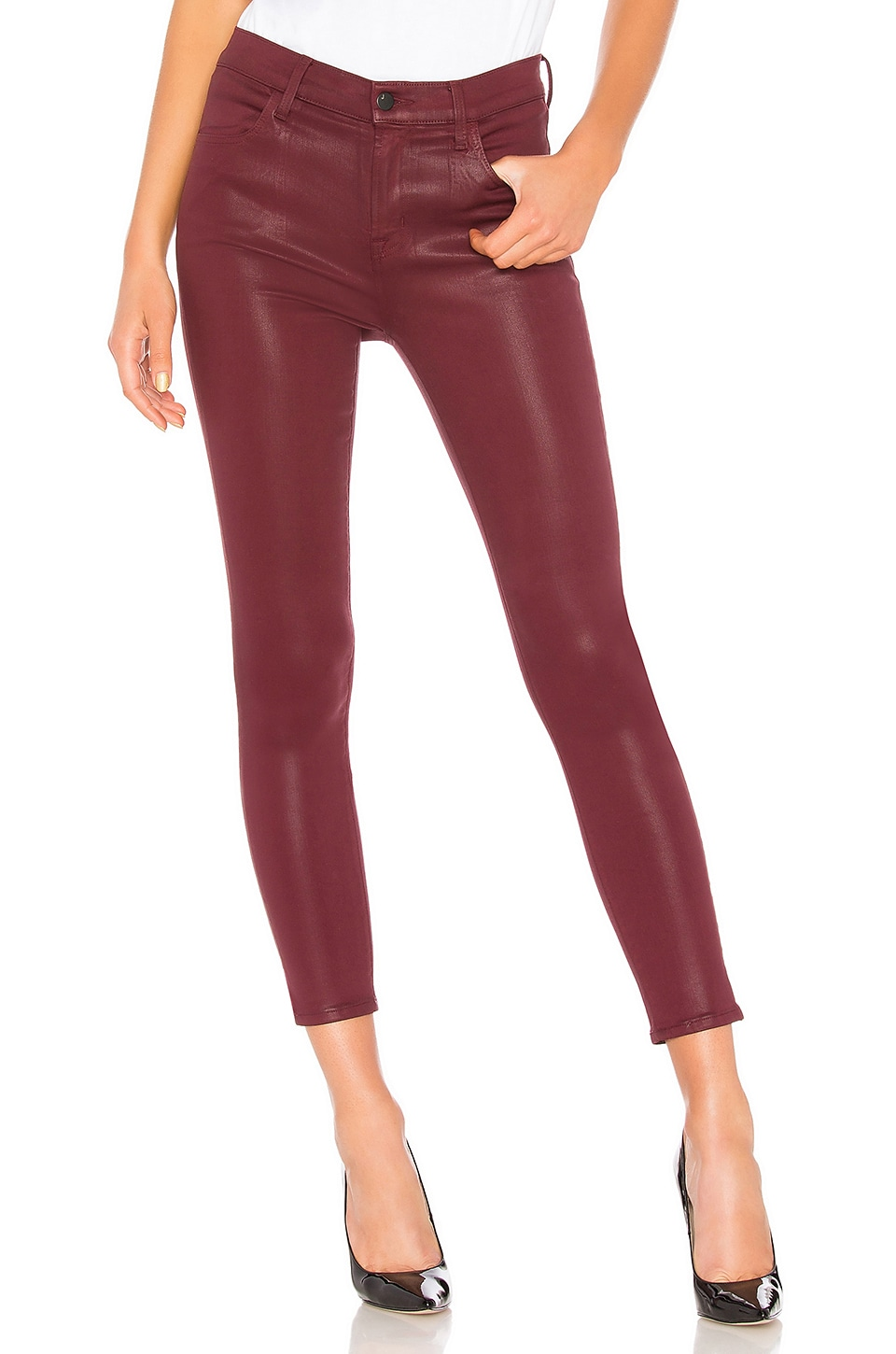 J Brand Alana High Rise Crop Skinny in Coated Oxblood