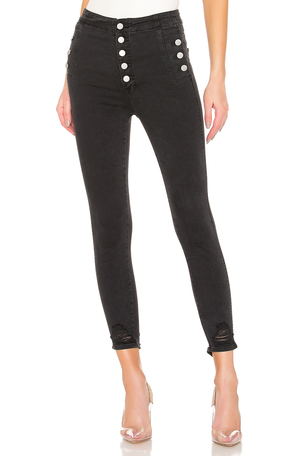 J Brand X REVOLVE Natasha Sky High Crop Skinny in Bellatrix Destruct