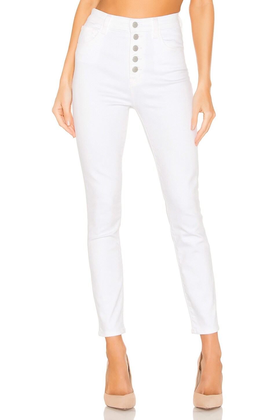 J Brand Lillie High Rise Crop Skinny in White