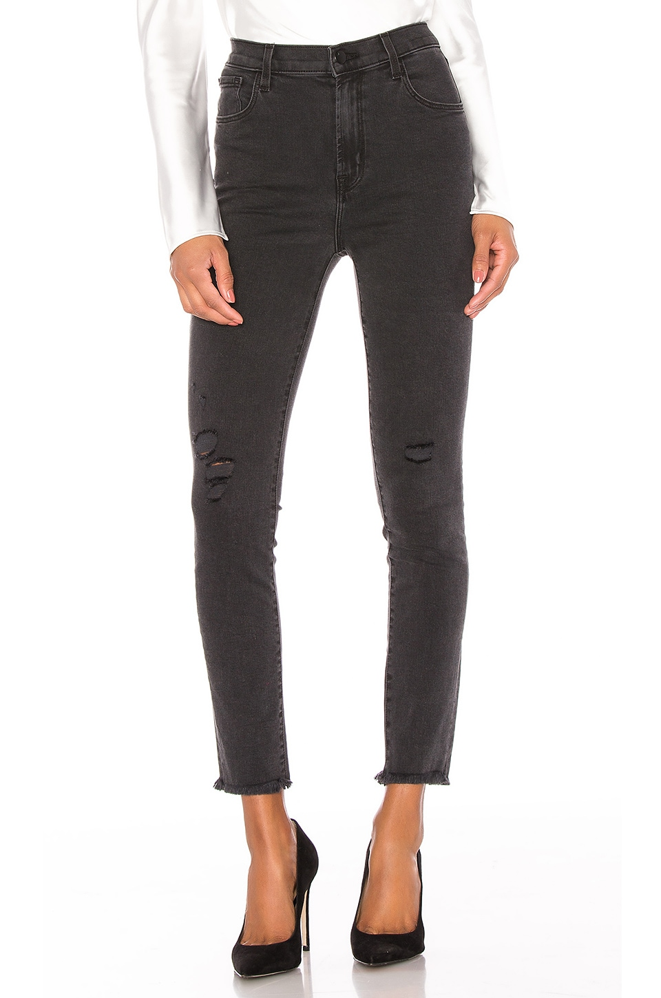 J Brand Leenah High Rise Ankle Skinny in After Hours Destruct
