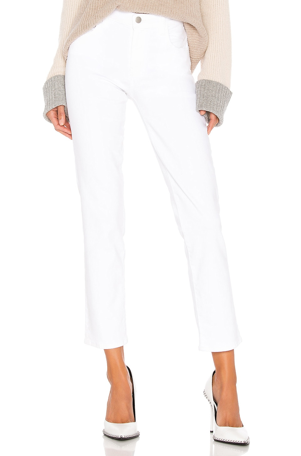 J Brand Adele Mid Rise Straight in Blanc