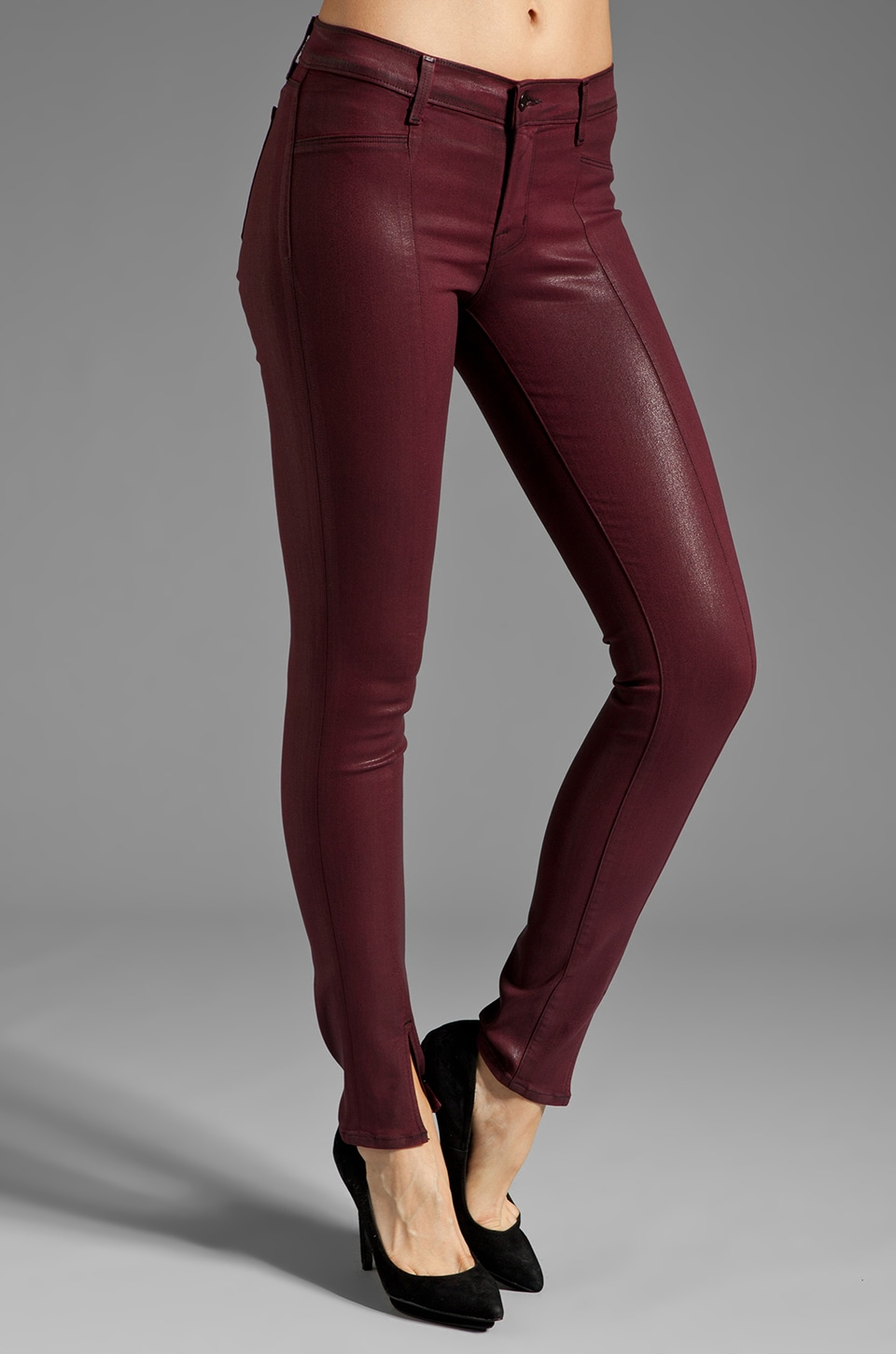 J Brand Vera Mid Rise Skinny in Coated Burgundy