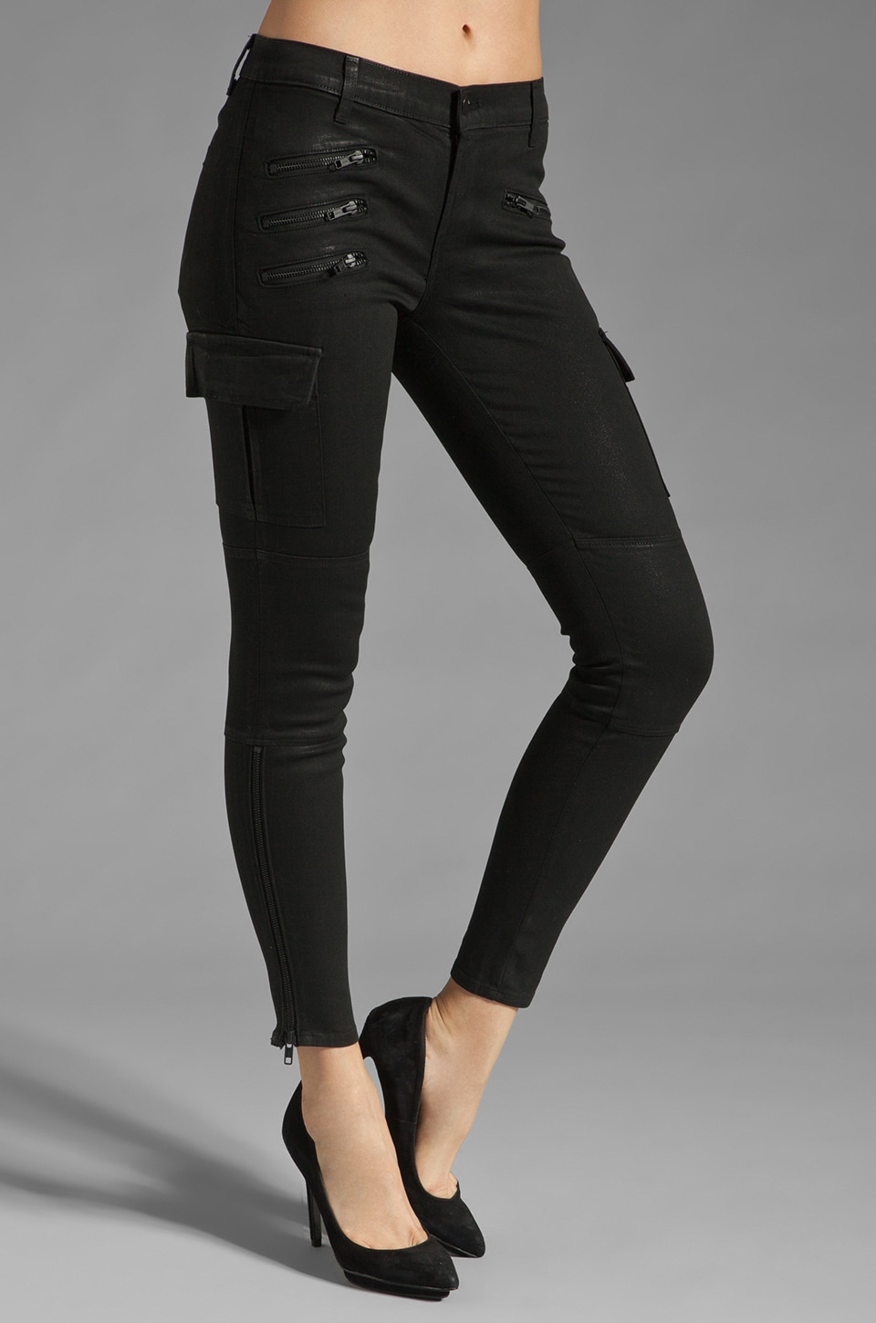 J Brand The Brix Cargo Zip Skinny in Coated Stealth