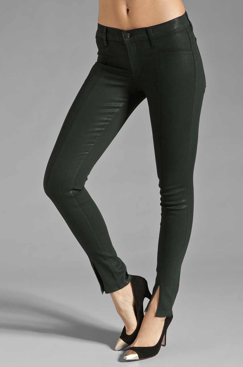 J Brand Vera Mid Rise Skinny in Coated Conifer
