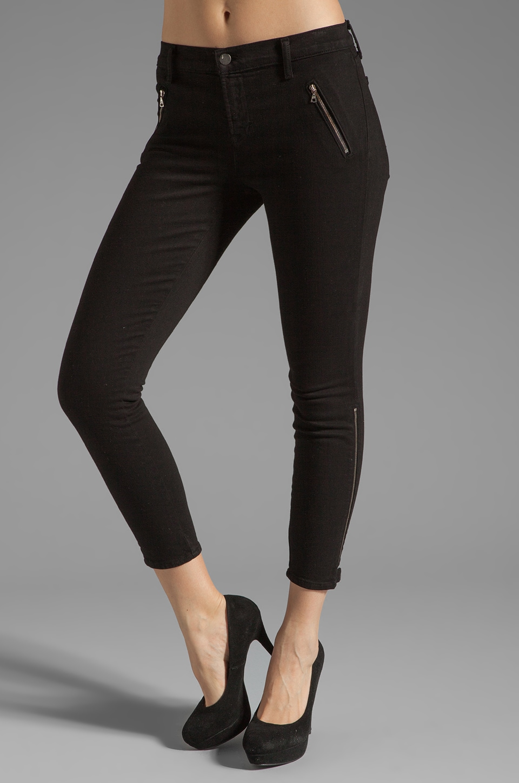 J Brand Carey Jewel Zip Moto Capri in Black