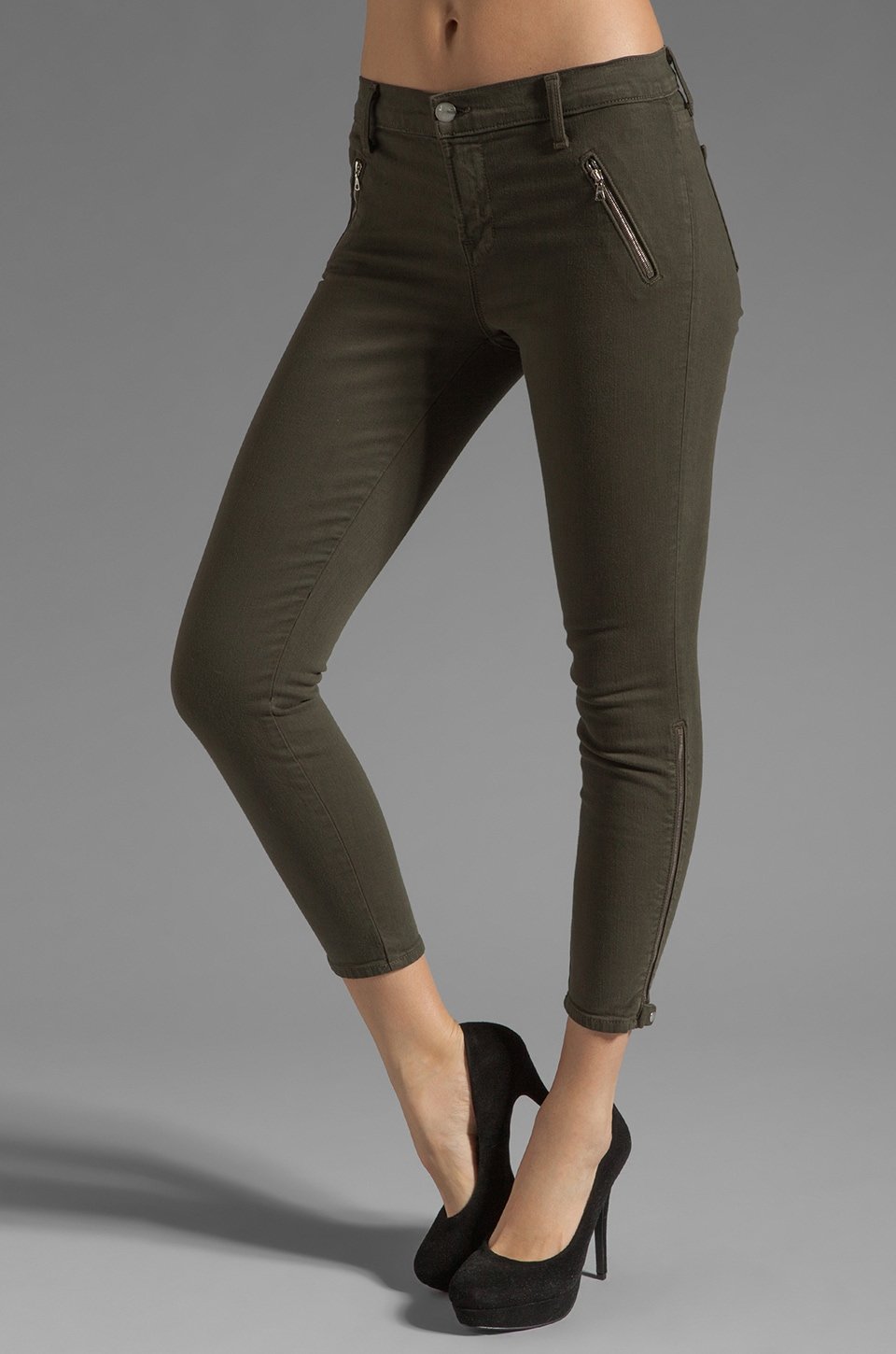 J Brand Carey Jewel Zip Moto Capri in Mantis