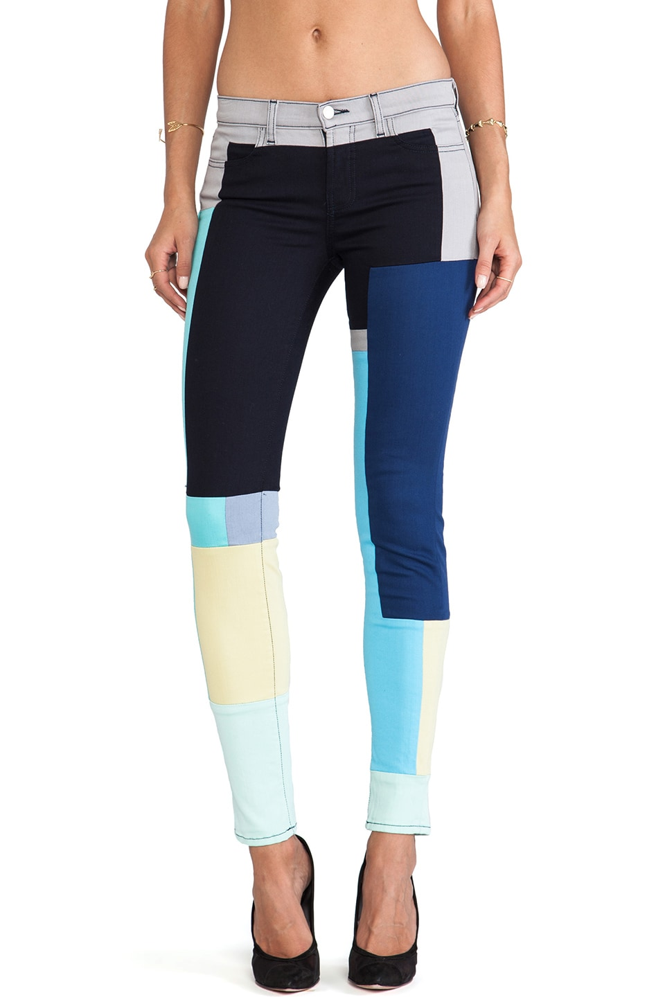 J Brand Mid Rise Super Skinny in Color Block