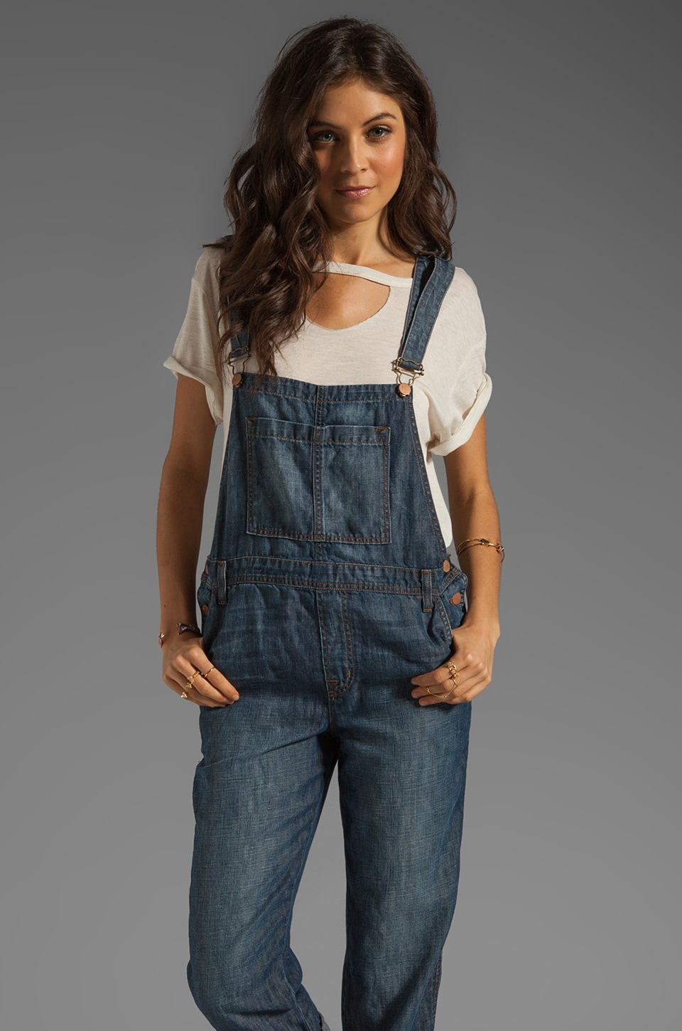 J Brand Cropped Overalls in Rivington