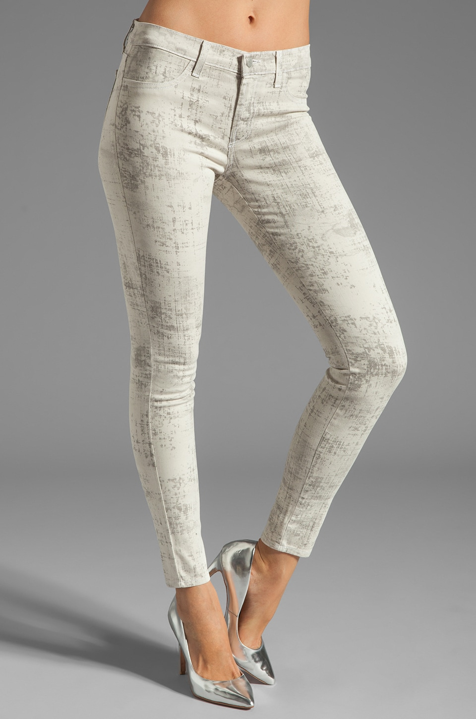J Brand Mid Rise Skinny in Coated Noise