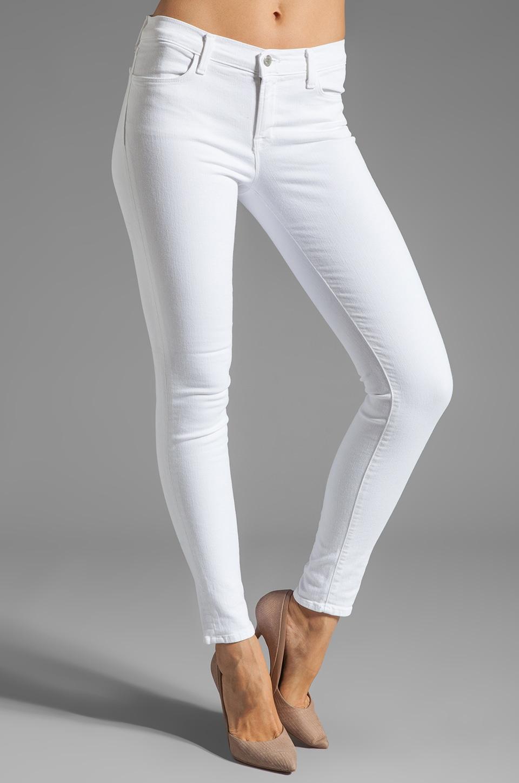 J Brand Jean Super Skinny avec œillets sur le dos des jambes en Blanc