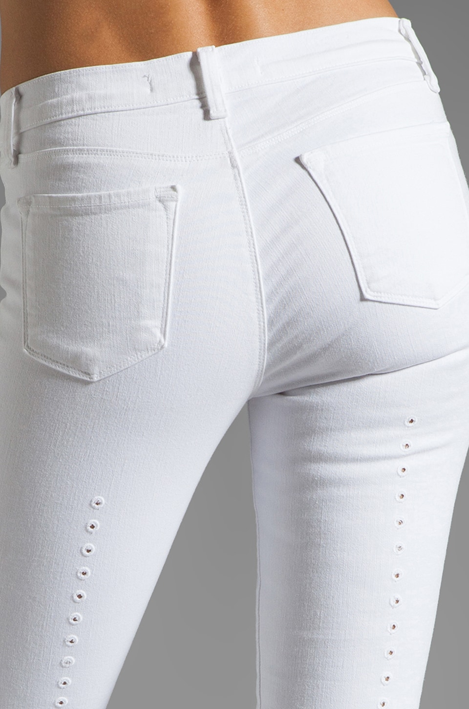 J Brand Back Eyelet Super Skinny in White