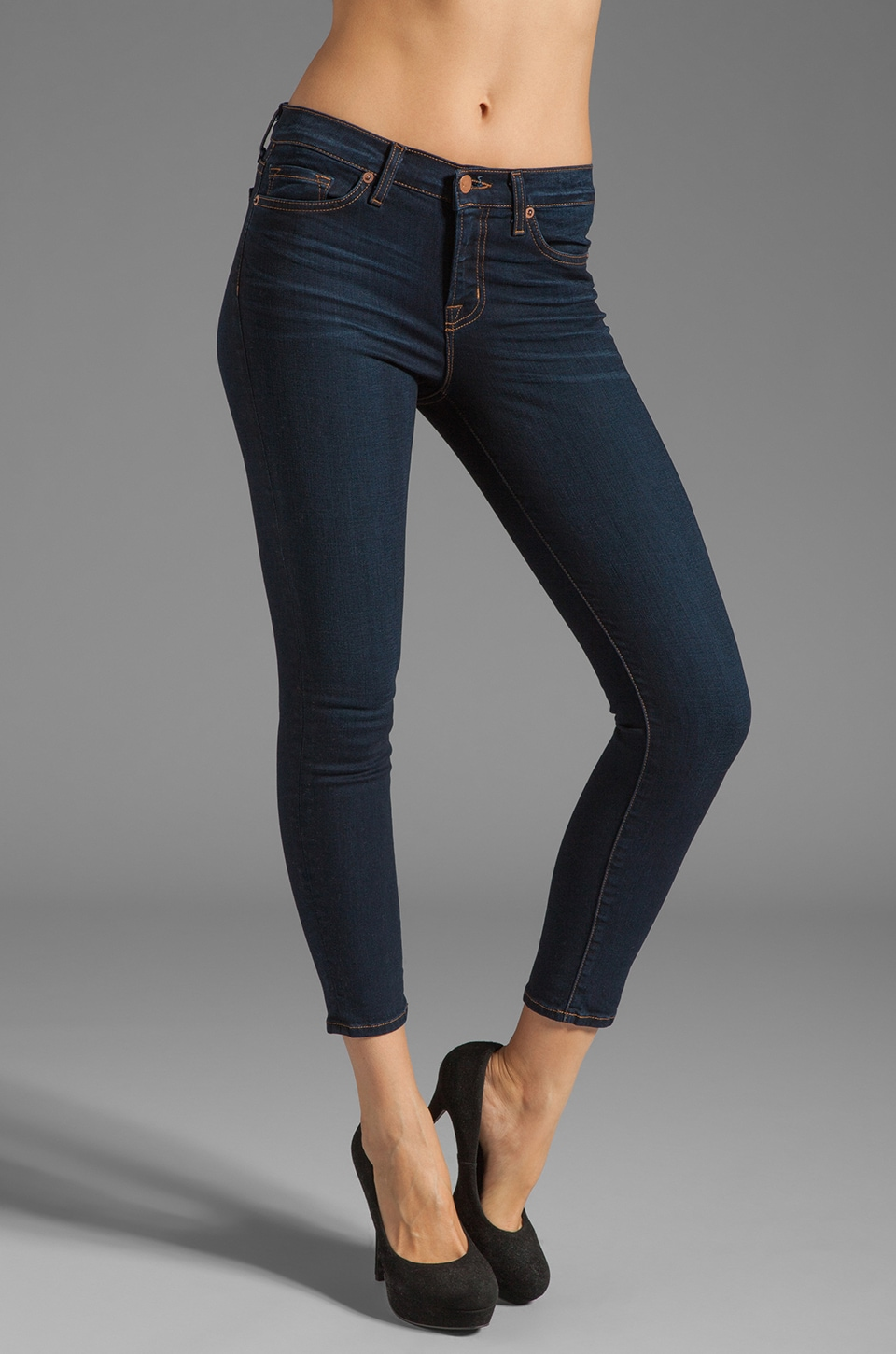 J Brand Mid Rise Crop Capri in Ignite