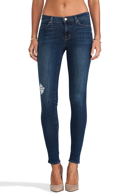 J Brand Jean Super Skinny usé taille moyenne en Quantum