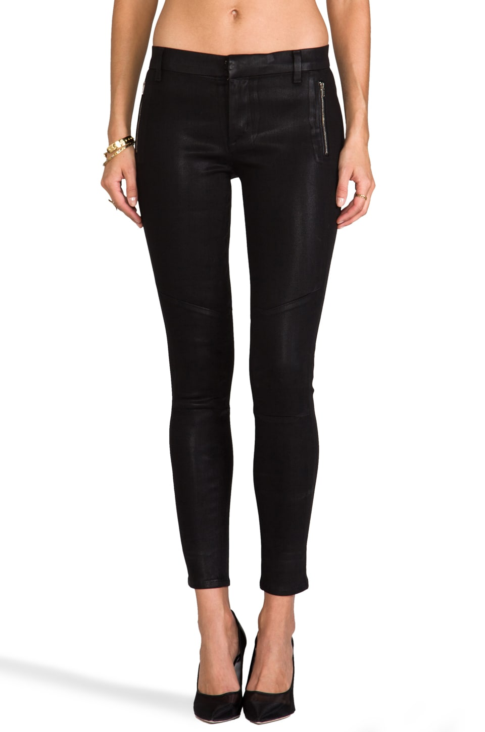 J Brand Tabitha Moto Skinny in Coated Black Quartz