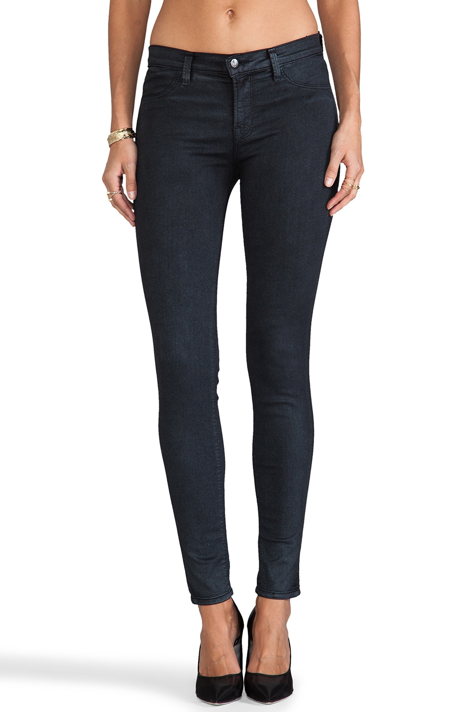 J Brand Midrise Coated Legging in Blue Nebula