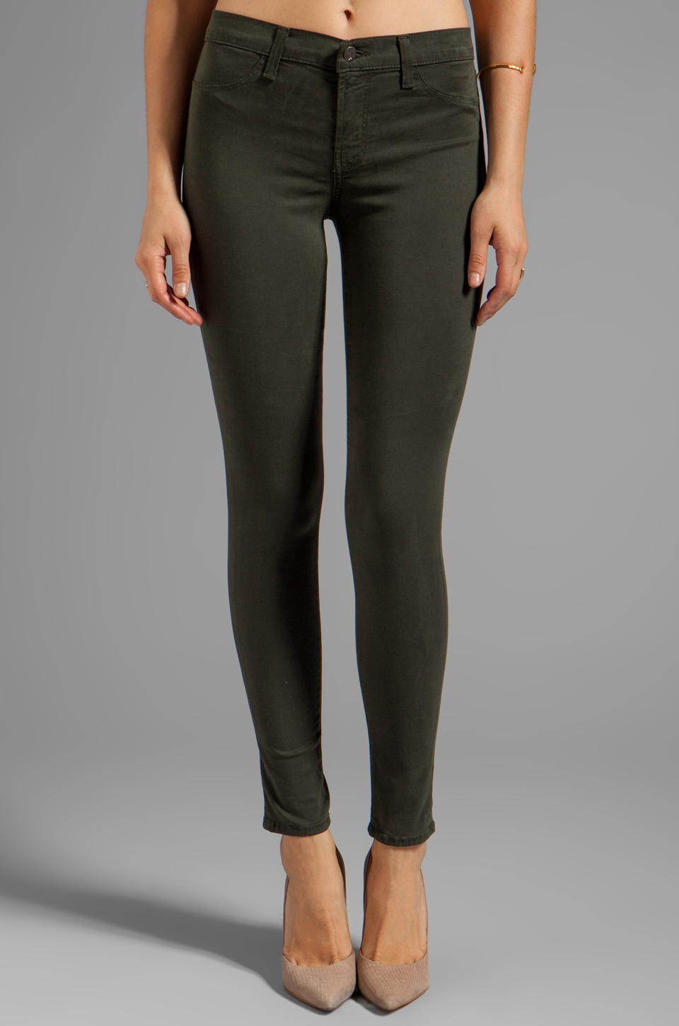 J Brand French Sateen Midrise Super Skinny in Presidio