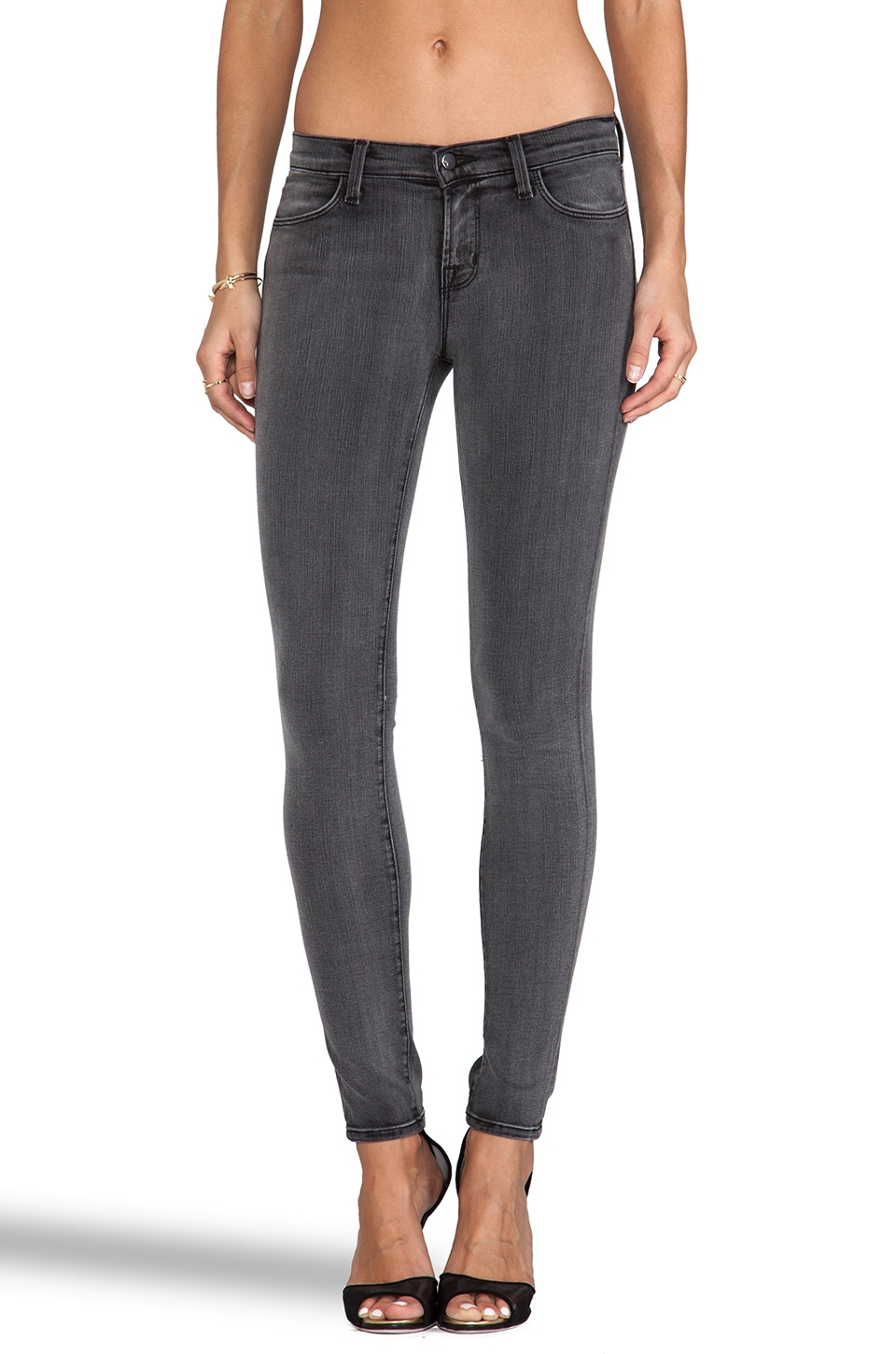 J Brand Midrise Super Skinny in Prose Grey