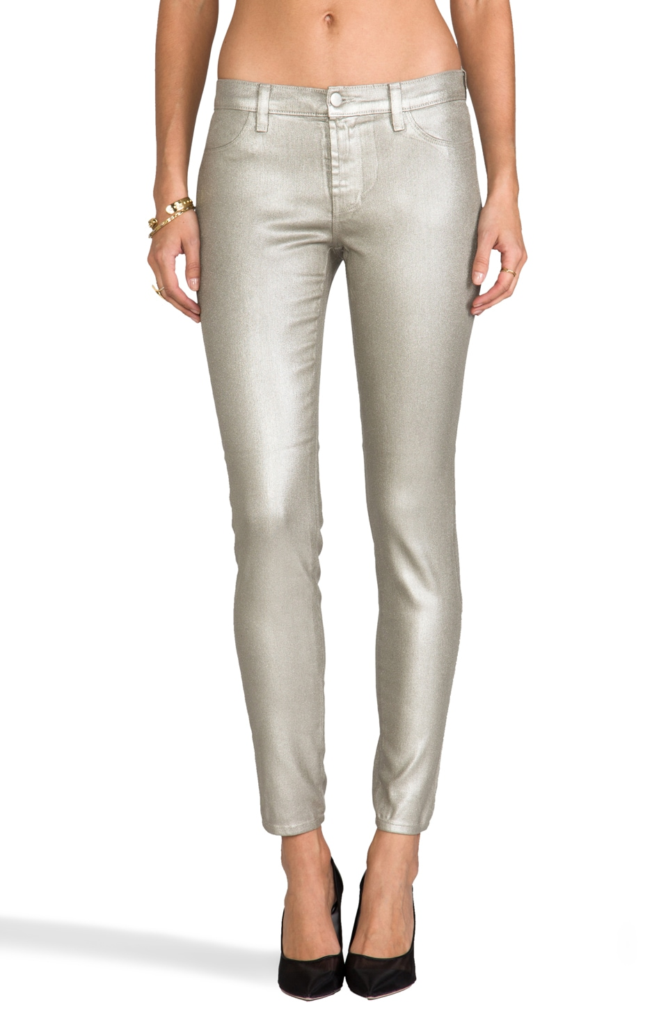 J Brand Midrise Super Skinny in Gold
