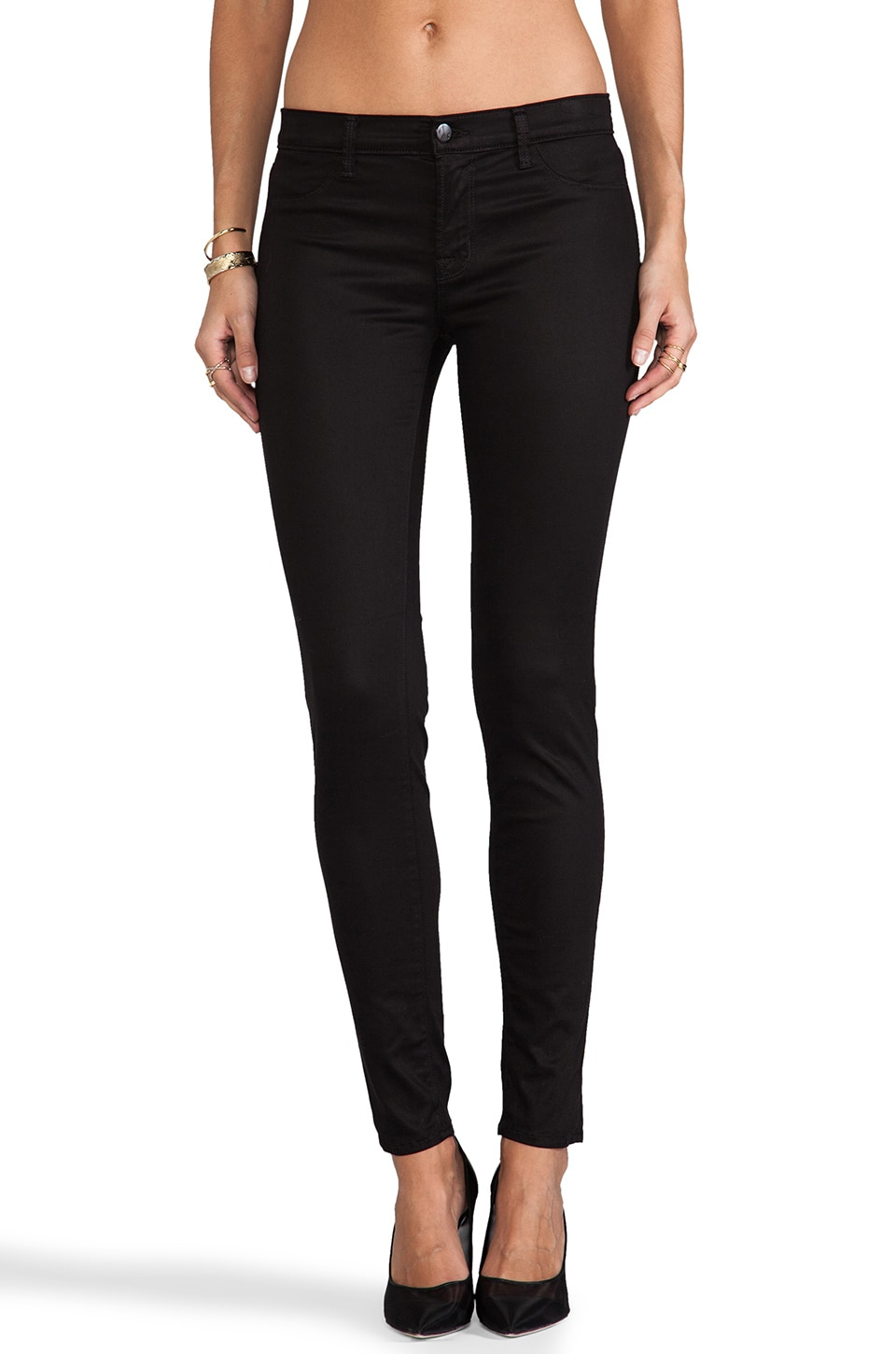 J Brand High Shine Sateen Midrise Skinny in Black