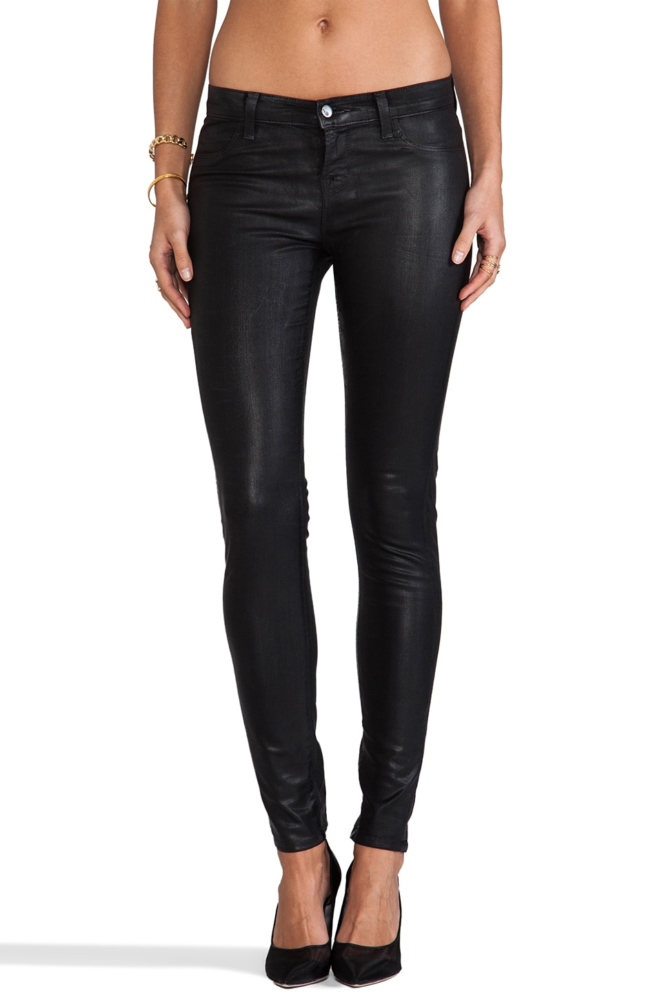 J Brand Midrise Legging in Coated Black