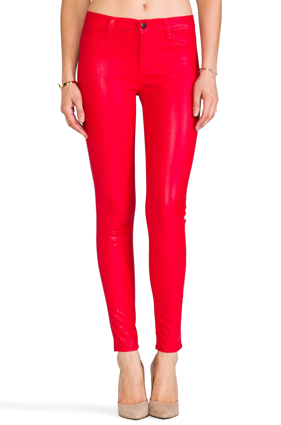 J Brand Midrise Legging in Coated Adra Red
