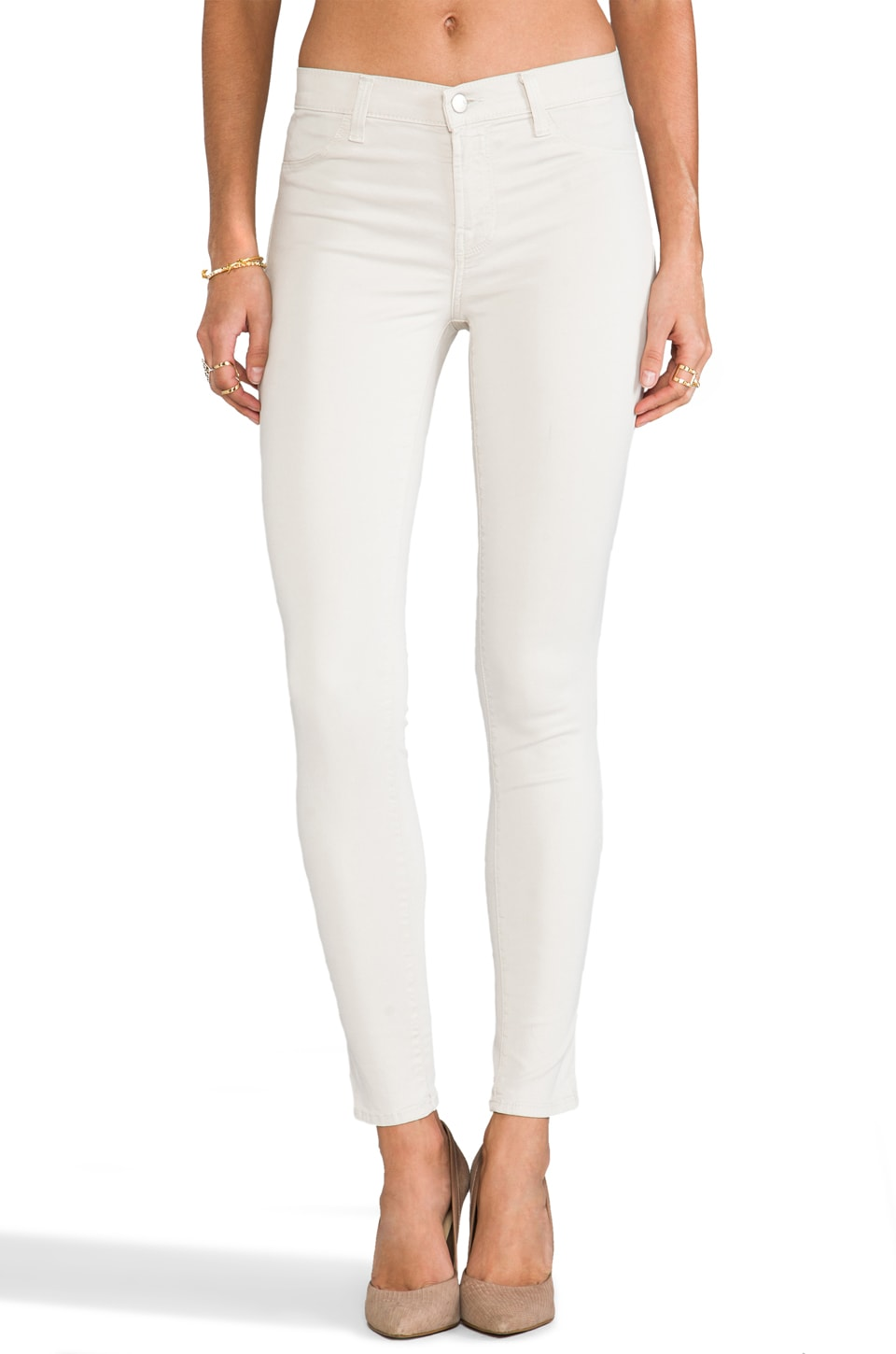 J Brand Luxe Satin Skinny in Chalk