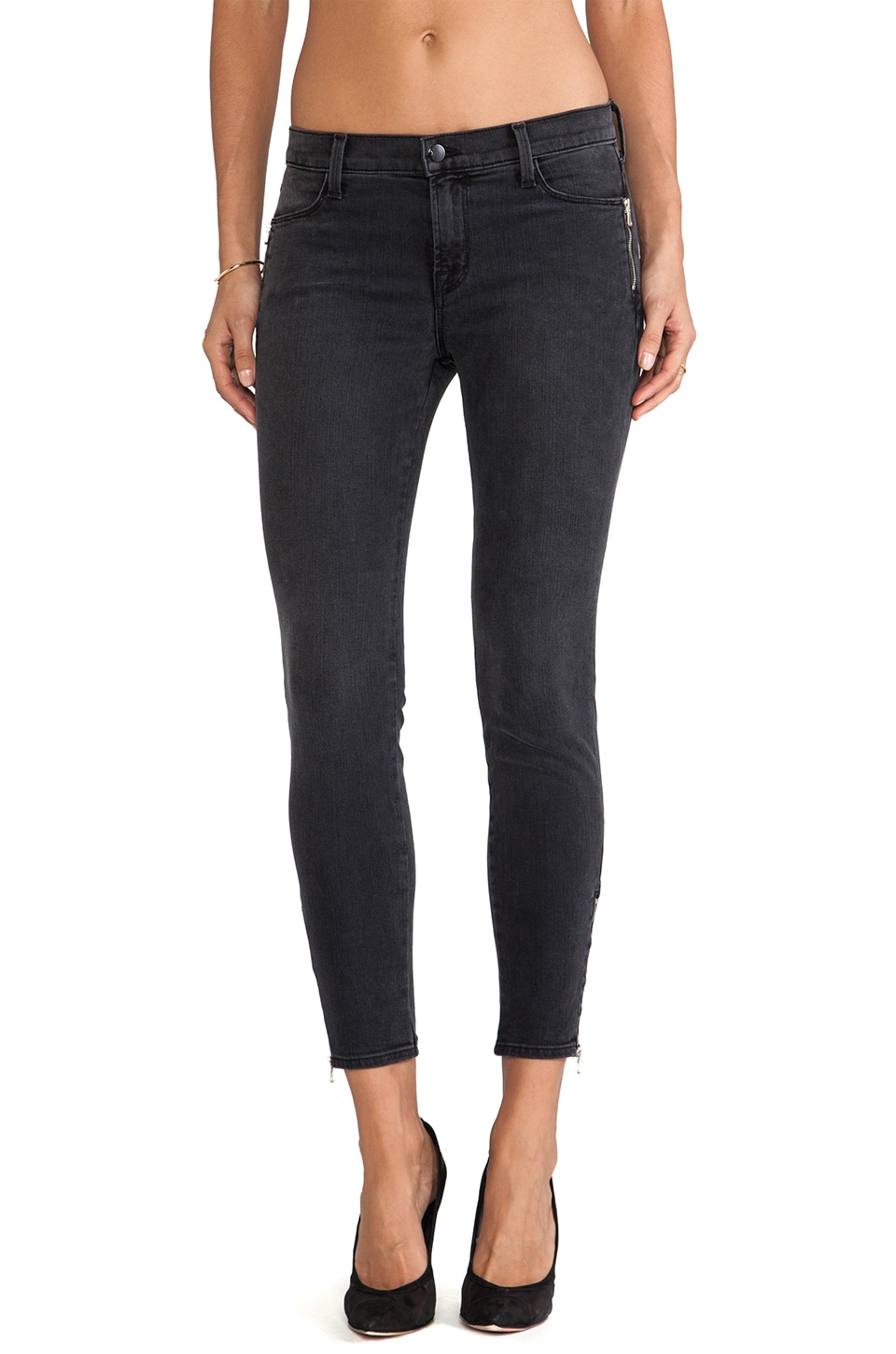 J Brand Tali Zip Pant in Grey Cascade
