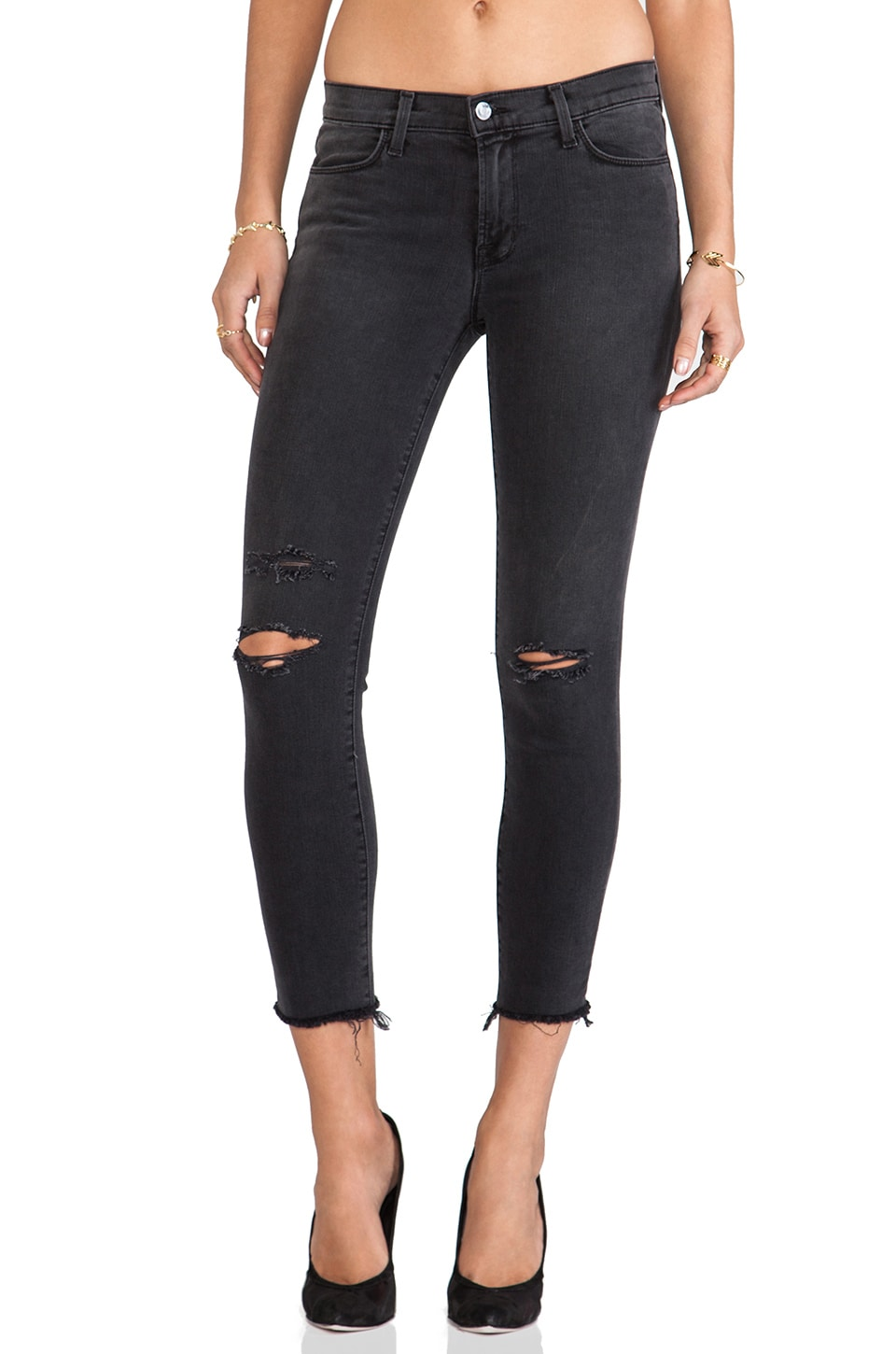J Brand Cropped Mid Rise Skinny in Chrome Mercy